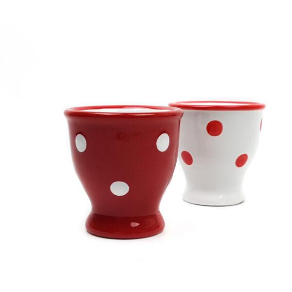 Keramik Eierbecher rot mit Punkten 2 Stück