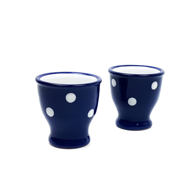 Keramik Eierbecher blau mit Punkten 2 Stück