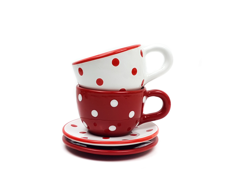 Keramik Kaffeetassen mit Untertassen rot mit Punkten