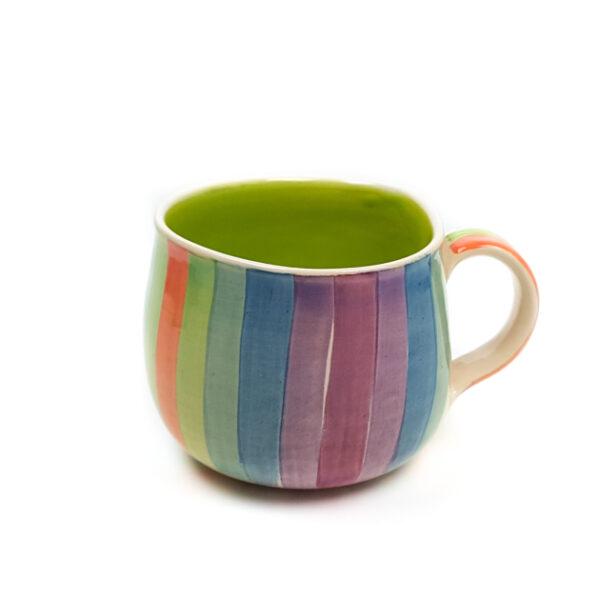 Lässige Keramik Tasse / Becher lime Regenbogen