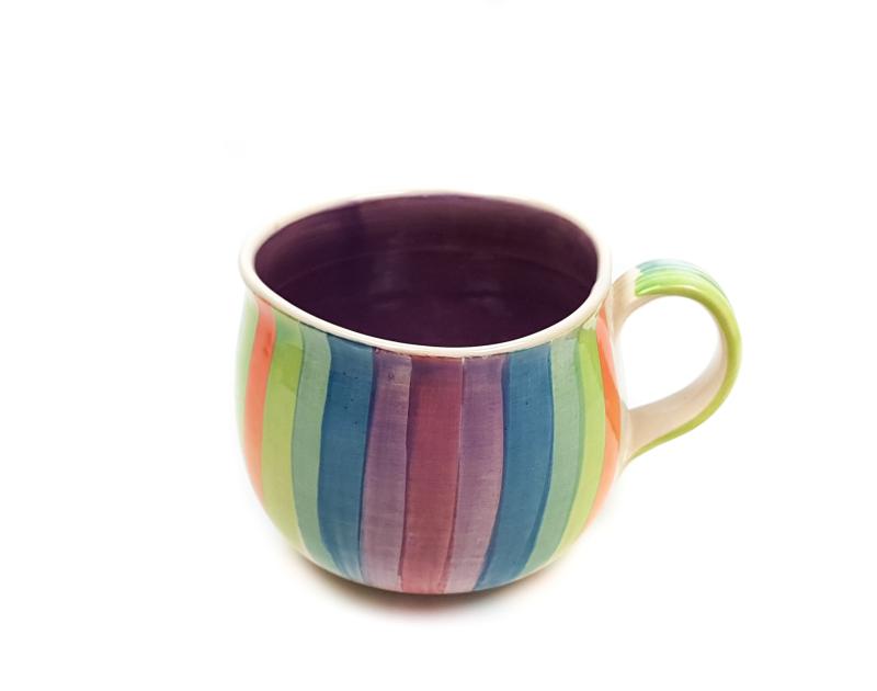 Lässige Keramik Tasse / Becher lila Regenbogen
