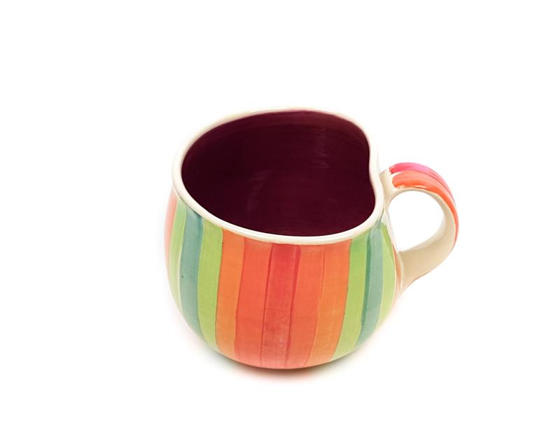 Lässige Keramik Tasse / Becher Malve Regenbogen
