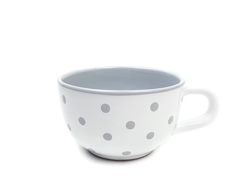 Keramik Jumbo Teetasse grau mit Punkten (0,5 L)