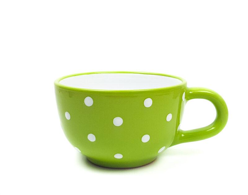 Keramik Jumbo Teetasse grün mit Punkten (0,5 L)