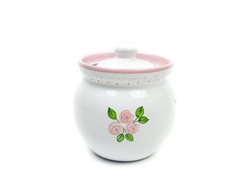 Keramik Honigtopf weiß mit rosafarbenen kleinen Rosen und Spitze