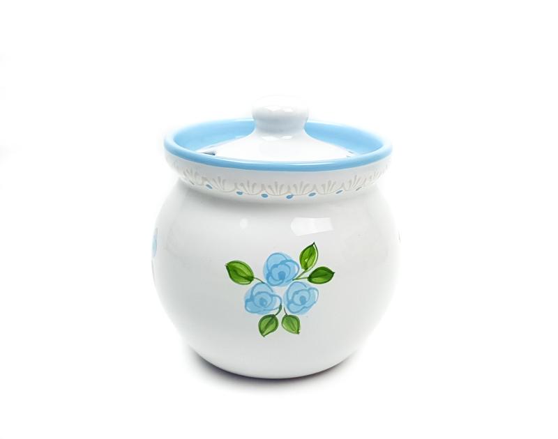 Keramik Honigtopf weiß mit hellblauen kleinen Rosen und Spitze