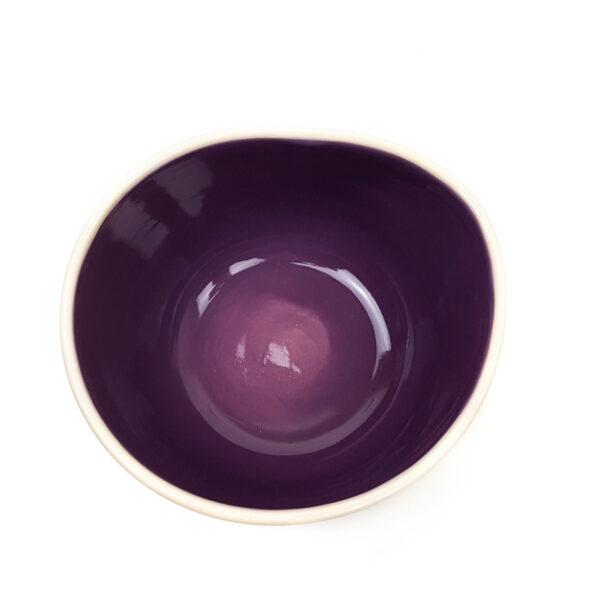 Lässige Keramik Müslischale lila Hähnchen
