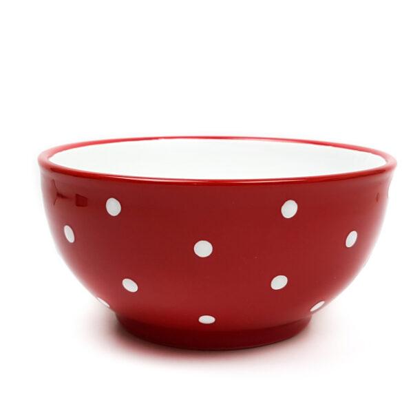 Keramik Schale klein rot mit Punkten 1,4 L
