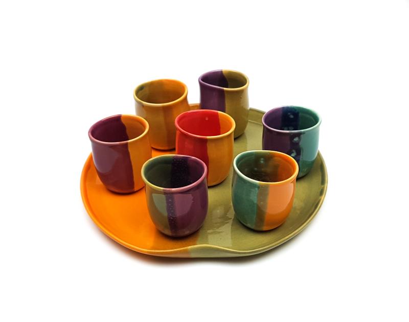 Lässige Keramik Schnaps Service Bunt