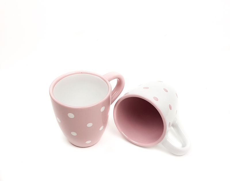 Keramik Kaffeebecher rosa mit Punkten
