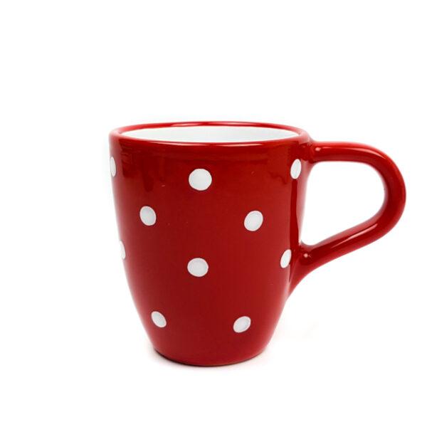 Keramik Kaffeebecher rot mit Punkten