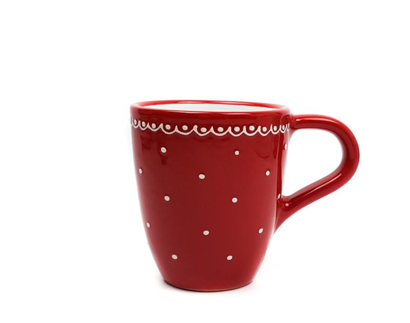 Keramik Kaffeebecher rot mit kleinen Punkten