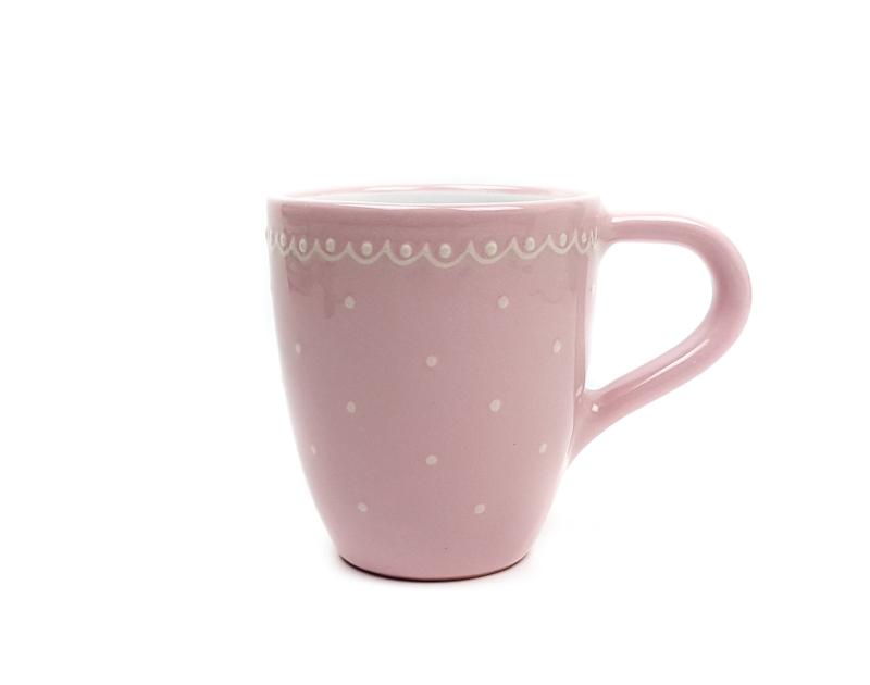 Keramik Kaffeebecher rosa mit kleinen Punkten