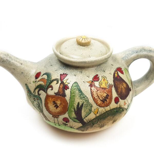 Runde Teekanne mit Märchen (Hühner) Muster