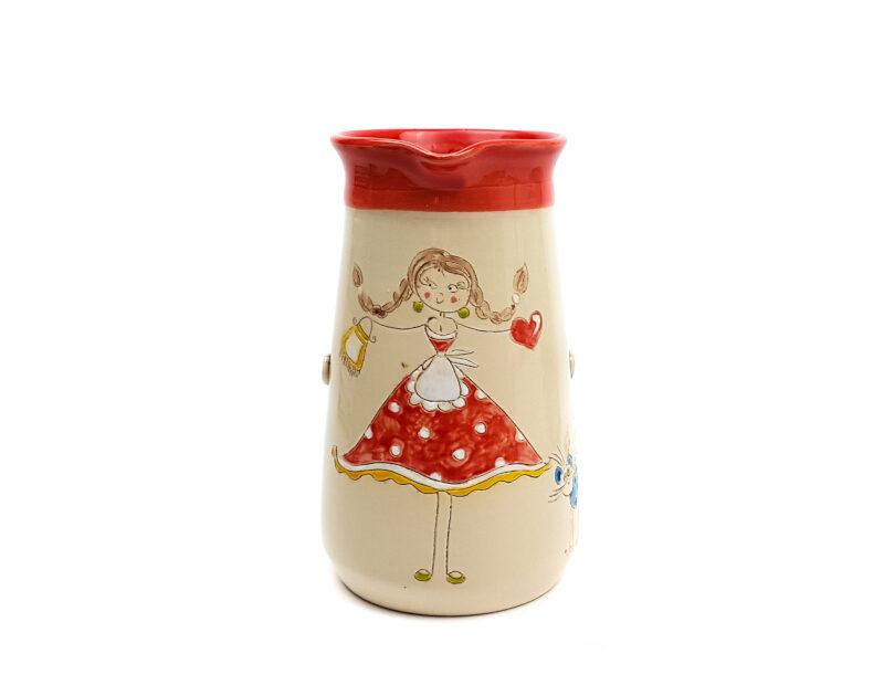 Keramik Krug rot mit Schnucki Motiv 1 L