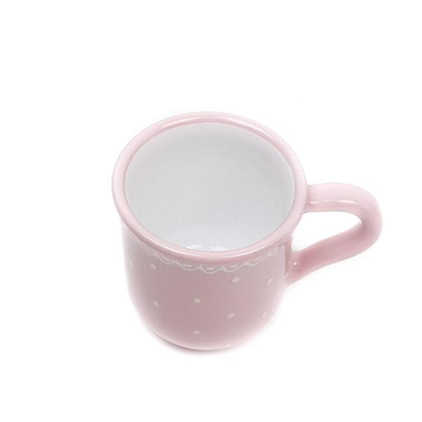 Keramik Kakaobecher rosa mit kleinen Punkten
