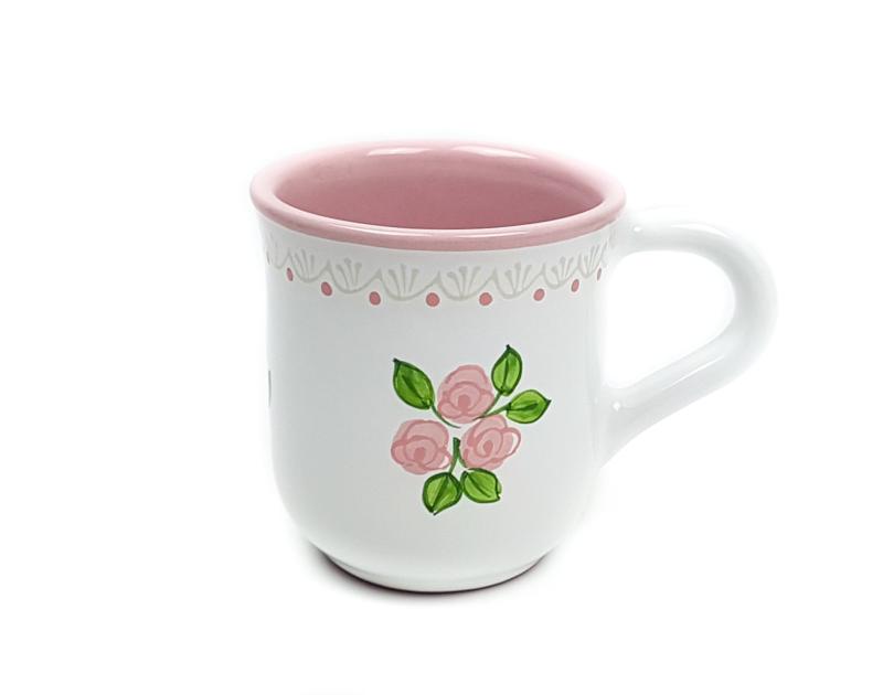Keramik Kakaobecher weiß mit rosafarbenen kleinen Rosen und Spitze