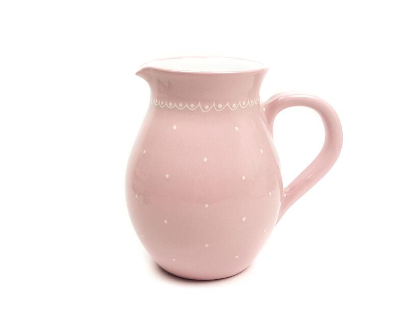 Keramik Traditioneller Krug (Groß) rosa mit kleinen Punkten