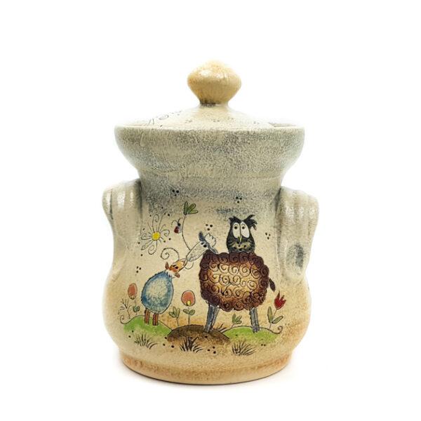 Keramik lange Honigtopf mit Märchen (Lamm)